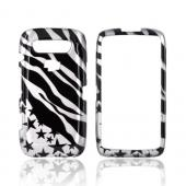 Blackberry Torch 9850 Hard Case - Black Zebra &amp; Stars on Silver