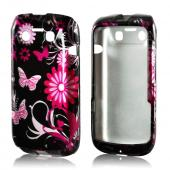 Pink Flowers &amp; Butterflies on Black Hard Case for Blackberry Bold 9790