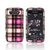 Blackberry Torch 9860, 9850 Hard Case - Plaid Pattern of Pink, Hot Pink, Brown, &amp; Gray