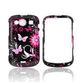 Blackberry Bold 9900, 9930 Hard Case - Pink Butterflies & Flowers on Black