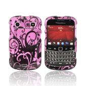 Blackberry Bold 9900, 9930 Hard Case - Black Swirl Design on Purple