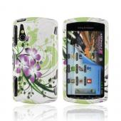 Sony Xperia PLAY Hard Case - Purple Lilly on Green/ White