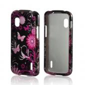 Pink Flowers &amp; Butterflies on Black Hard Case for Google Nexus 4