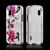 Magenta Flowers &amp; Black Vines on White Hard Case for LG Google Nexus 4