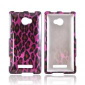 HTC 8X Hard Case - Hot Pink/ Black Leopard