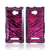 HTC 8X Hard Case - Purple/ Black Zebra