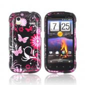 HTC Amaze 4G Hard Case - Pink Flowers &amp; Butterflies on Black