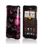 Pink Flowers &amp; Butterflies on Black Hard Case for HTC Droid DNA