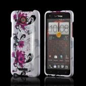 Magenta Flowers &amp; Black Vines on White Hard Case for HTC Droid DNA
