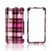 HTC EVO Design 4G Hard Case - Plaid Pattern of Pink, Hot Pink, Brown, &amp; Silver