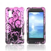 HTC EVO Design 4G Hard Case - Black Swirl Design on Purple