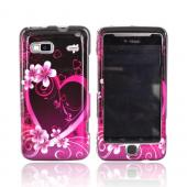 T-Mobile G2 Hard Case - Pink Heart and Flowers on Black
