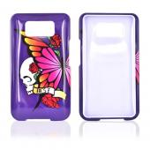 HTC HD2 Hard Case - Skull & Butterflies on Purple
