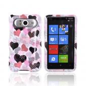 HTC HD7 / HTC HD7s Hard Case - Pink Hearts on White