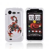 HTC Droid Incredible 2 Hard Case - Red/ Black Scorpion on White