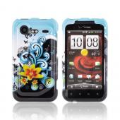 HTC Droid Incredible 2 Hard Case - Yellow Lilly &amp; Swirls on Turquoise/Black