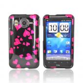 HTC Inspire 4G Hard Case - Pink Raining Hearts on Black