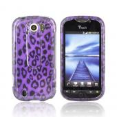 HTC Mytouch 4G Slide Hard Case - Purple/ Black Leopard