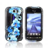 HTC Mytouch 4G Slide Hard Case - Blue Flowers on Black