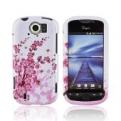 HTC Mytouch 4G Slide Hard Case - Pink Cherry Blossom on White