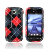 HTC Mytouch 4G Slide Hard Case - Red, Black, & Gray Argyle