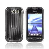 HTC Mytouch 4G Slide Hard Case - Silver Lines on Black