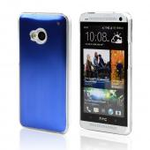 Blue Aluminum Back on Clear Hard Case for HTC One