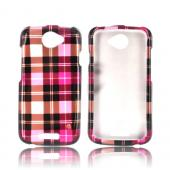 HTC One S Hard Case - Plaid Pattern of Pink, Hot Pink, Brown & Silver