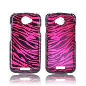 HTC One S Hard Case - Purple/ Black Zebra