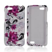 HTC One V Hard Case - Magenta Flowers &amp; Black Vines on White