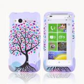 HTC Radar 4G Hard Case - Black Tree w/ Multi-Colored Hearts on White