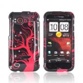 HTC Rezound Hard Case - Hot Pink Tree on Black