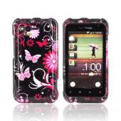 HTC Rhyme Hard Case - Pink Flowers & Butterflies on Black