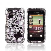 HTC Rhyme Hard Case - Silver Skulls on Black