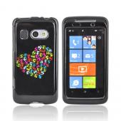 HTC Surround T8788 Hard Case - Rainbow Skull Heart on Black