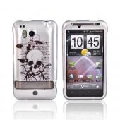 HTC Thunderbolt Hard Case - Black Skull on Silver