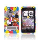HTC Thunderbolt Hard Case - Monkey, Elephant, &amp; Bunny on Red/Blue/Yellow