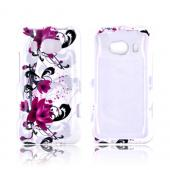 HTC Titan 2 Hard Case - Magenta Flowers & Black Vines on White