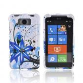 HTC Titan Hard Case - Blue Flower Splash on White