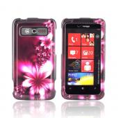 HTC Trophy Hard Case - Pink Flowers on Maroon