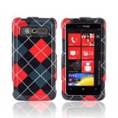 HTC Trophy Hard Case - Red/ Gray/ Black Argyle