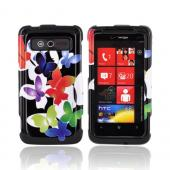 HTC Trophy Hard Case - Rainbow Butterflies on Black