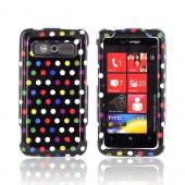 HTC Trophy Hard Case - Rainbow Polka Dots on Black