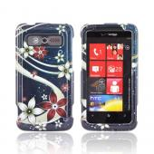 HTC Trophy Hard Case - Pink/ White Flowers on Blue