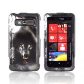HTC Trophy Hard Case - Gray Wolf on Silver/ Black