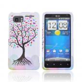 HTC Vivid Hard Case - Black Tree w/ Multi-Colored Hearts on White