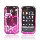 AT&amp;T Fusion U8652 Hard Case - Hot Pink/ Purple Flowers &amp; Heart