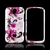 T-Mobile Huawei myTouch Q 2 Hard Case - Magenta Flowers &amp; Black Vines on White