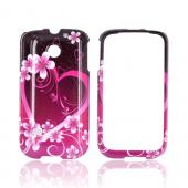 Huawei Ascend 2 M865 Hard Case - Hot Pink/ Purple Flowers &amp; Hearts