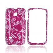 Huawei Ascend 2 M865 Hard Case - White Vines/ Leaves on Purple